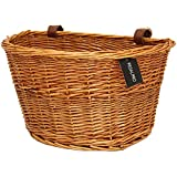 PedalPro Vintage Wicker Bicycle Basket with Tan Leather Straps