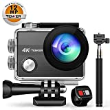 TENKER 4K Action Camera, WiFi 12MP Waterproof Sport Camera 170 Degree Wide View