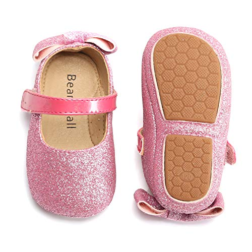 Bear Mall Infant Baby Girl Shoes Soft Sole Toddler Ballet Flats Baby Walking Shoes (2-2.5 Years-5 1/4 Inch, Giltter Pink) -