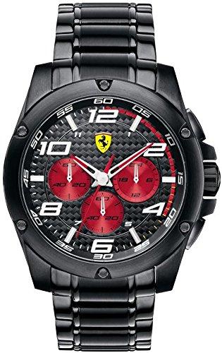 Ferrari 0830037 - Reloj para hombres, correa de acero inoxidable color negro