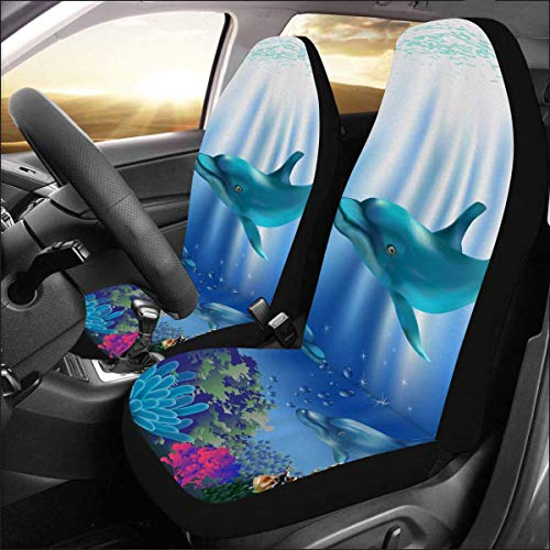 (INTERESTPRINT Universal Fit Custom The Underwater World with Dolphins and Plants Protector Two Front Car Seat Covers Set -100% Breathable)