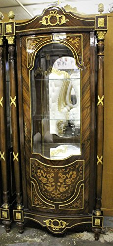 Solid Wood China Curio Cabinet with Marquetry and Ormolu (Marquetry Accents)