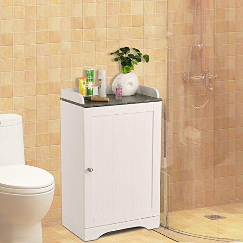 - Bathroom Floor Storage Cabinet Freestanding Adjustable Shelves W/Single Door