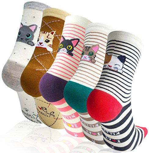 Chalier 5 Pairs Womens Cute Animal Socks Colorful Funny Casual Cotton Novelty Crew Socks ()