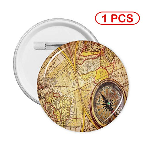 Kuyanasfk Round Buttons Pins Badge Antique Compass On Ancient World Map Boys Girls Women Men Back Gifts Clothing Decoration Collectible Buttons 1 PCS from Kuyanasfk