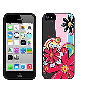 Iphone 5C/ IPhone 5C Lite (T-mobile,AT&T,Verizon,Sprint,International)Beyond Cell ?Slim Protex Design 2 Piece Snap On (Front & Back) Hard Rubberized Feel Non-Slip Matte Protective Phone Case - Hippi Flower Design - Retail Packaging
