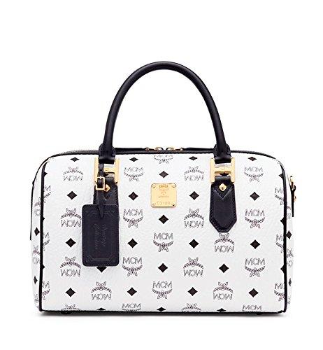 Mcm Heritage Line Heritage Boston White Black Leather Satchel Handbag Bag (Boston Monogram)