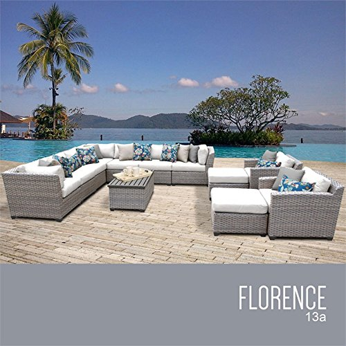 TKC Florence 13 Piece Patio Wicker Sofa Set in White