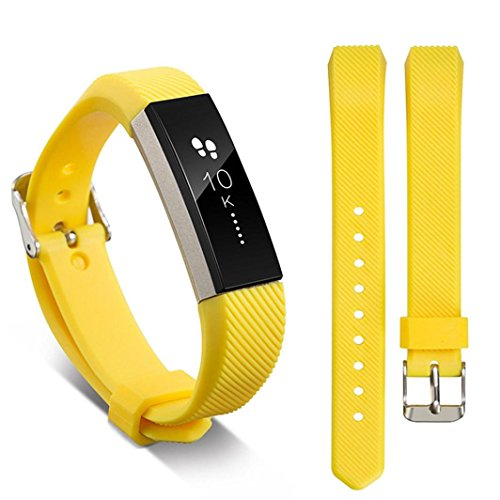 Boofab For Fitbit Alta HR and Alta Bands, Accessory Soft Silicone Replacement Wristband with Secure Metal Buckle Clasp for Fitbit Alta/Alta HRSport Smart Watch 9 Color (Yellow) -