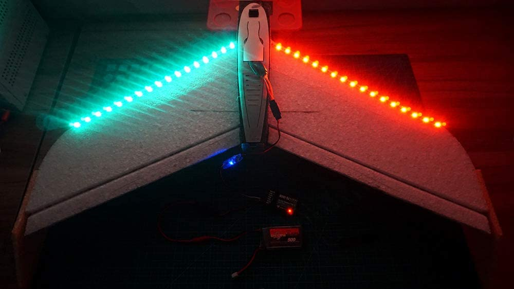Remote Controlled LED Light Strip for RC Fixed Wing Airplane Flying Wing Plane