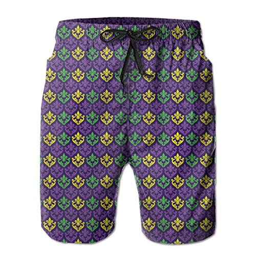 BJKEERT Antique Old Fashioned Motifs Men's Beach Shorts,Funny Lightweight,Breathable and Comfy Swim Trunks,3D Digital Printing - No -