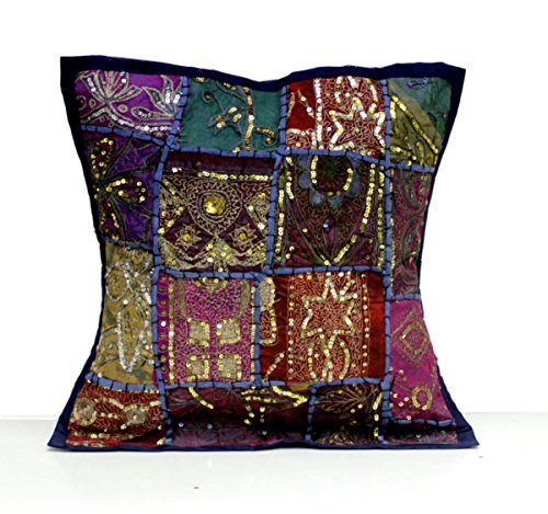 (Amazing India an Indian Ethnic Embroidery Sequin Patchwork Pillow Cushion Cover (Dark Blue))