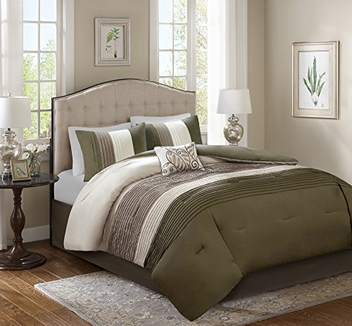 Comfort Spaces Windsor 5 Piece Full/Queen Comforter Pintuck Pleated Striped Pattern Ruffled Patchwork Down Alternative Bedding Sets, Khaki/Brown/Ivory