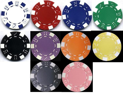 TMG Classic Striped Dice 11.5gm Poker Chip Sample Set - 10 New Chips!