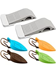 6 Pack Doorstops, FineGood 2 Pcs Rubber Door Stoppers with Holders and 4 Pcs Decorative Silicone Leaf Stoppers, Secure Door Wedges Finger Protectors for Home Office