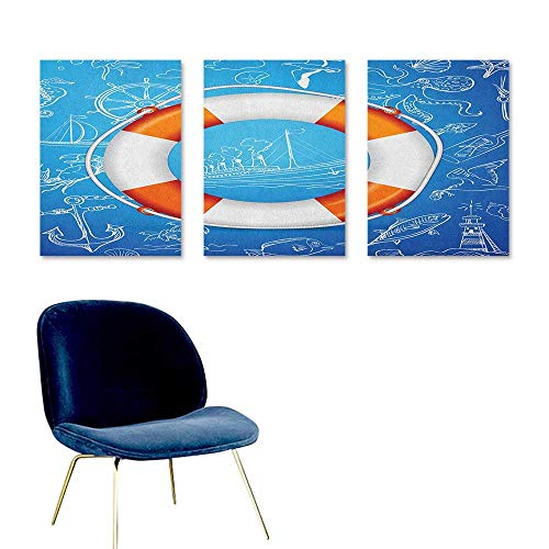 (Agoza Buoy Graffiti Canvas Painting Life Buoy Image Background with Palm Tree Island Octopus Seahorse Lighthouse Contemporary Abstract Art 3 Panels 24x35inch Blue Orange)
