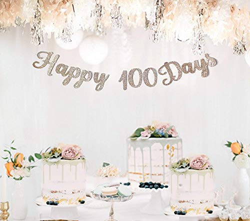 happy 100th day,happy 100days banner,100thday party,Happy 100years old banner,Gold Glitter party decorations,custom birthday banner,garland ()