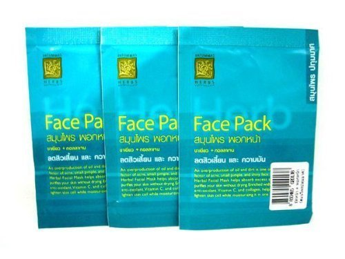 3X Thai Herbal Facial Mask FACE PACK with GREEN TEA, Vitamin