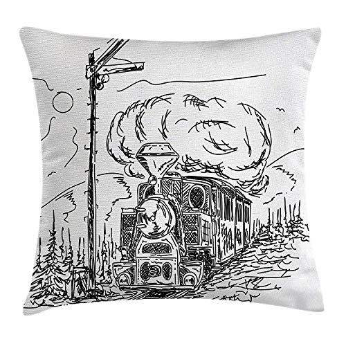 - UTF4C The Last Century Style Hand-Painted Train Shuttle in The Country Sun and Bird Pillow Case/Pillow Cover Cotton Size 24x24 inches,Throw Cushion Cover