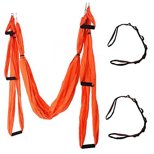 QUBABOBO Nylon Taffeta T210 Anti-Gravity Yoga Swing Hammock Sling Inversion Hammock with 660lb Load,Orange