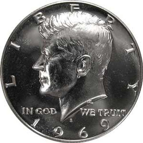 1969 S SILVER Gem Proof Kennedy Half Dollar US Coin -