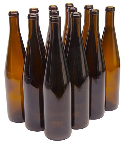 North Mountain Supply LDC W82 Amber 750Ml GLASS California Hock Wine Bottle Flat-Bottomed Cork Finish ()