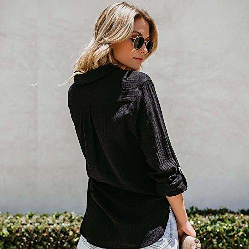 Lin Pullover Sexy Mode Boutonns Dames Chemise Casual LEvifun Poche Coton Blouse Shirt Longue Femme T Tunique Noir Shirt Hauts Top Automne Manche Tee Chemisier Chic Solide wa0aUqxg