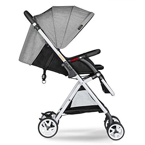 Besrey BR-C703S Lightweight Baby Stroller Foldable Lightweight Stroller,Infant Adjustable Pushchair Pram with Storage Basket,for 0-36 Months(Grey)