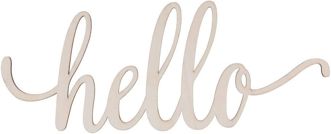 Takefuns Wooden Letters Wooden Hello Letter Unfinished DIY Block Words Sign Wooden Hello Sign Wall Art Decoration 30.5x12.7x0.4cm