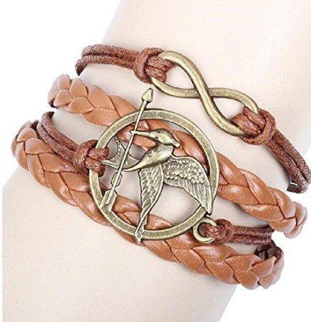 The Hunger Games Bracelet Katniss Everdeen Mockingjay Birds Infinity Bracelet Leather (Katniss Mockingjay Pin)