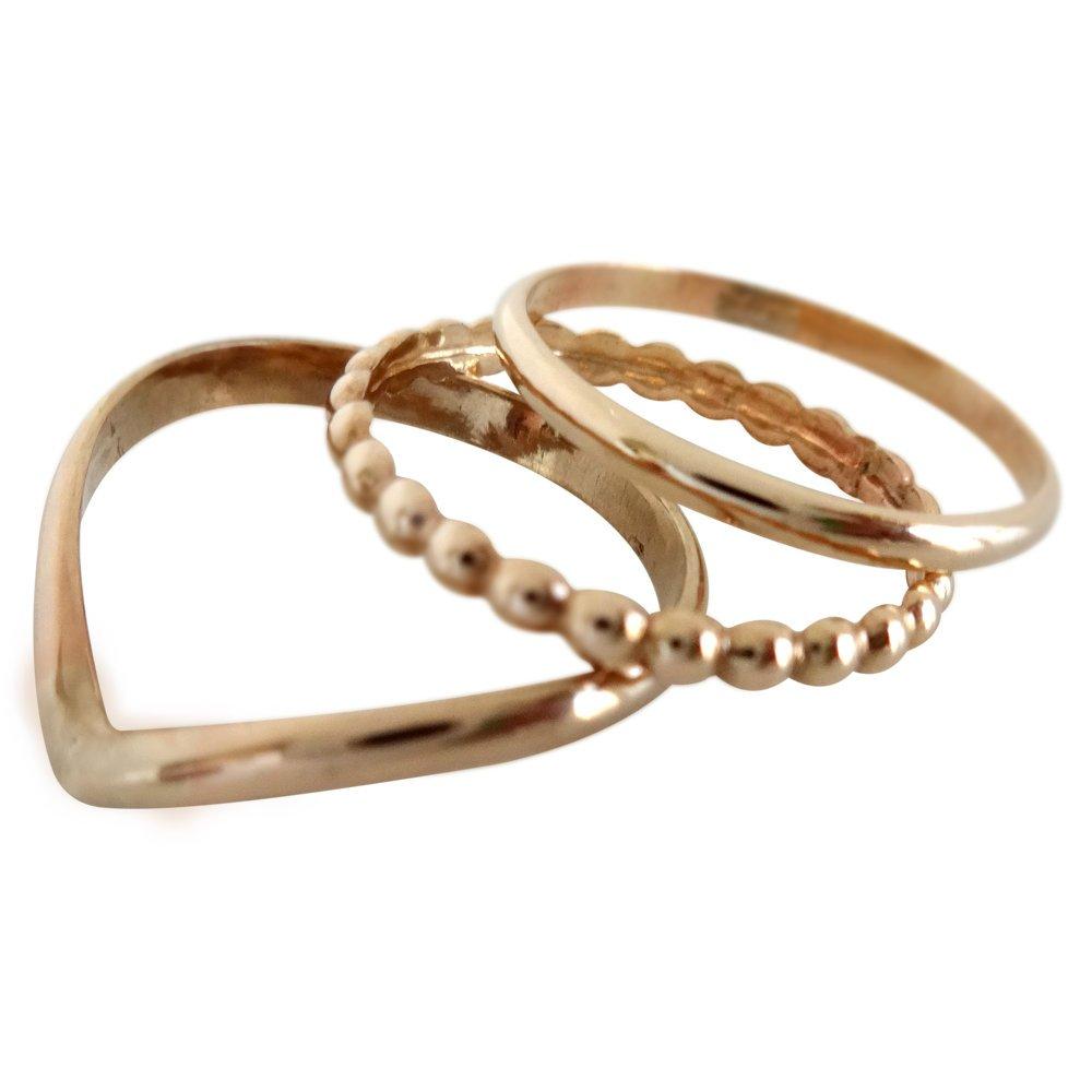 14k Gold Filled Bead Chevron Plain Band Trio Midi Toe Rings