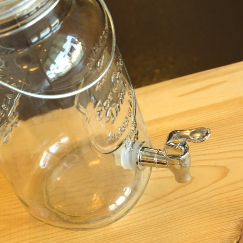 (Fine Life Mason Jar Glass Beverage Dispenser with Wire Handle - 1 Gallon)