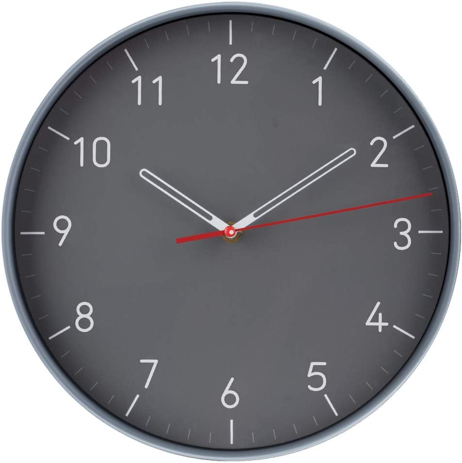WristArt Wall Clocks Battery Operated Non Ticking - 12 Inch Completely Silent Analog Quartz Office Wall Clock - Modern Design Wall Clock for School, Office, livingroom Clock(Grey)