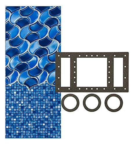 (Smartline 18-Foot Round Waves of Poseidon Liner | Overlap Style | 48-to-52-Inch Wall Height | 20 Gauge | Universal Gasket Included | Designed for Steel Sided Above-Ground Swimming Pools)
