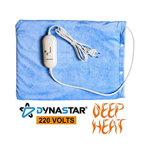 Dynastar 220 Volts Heating Pad 220v 240 Volt Heating pad with Moist/Dry, Fast Heating, Micro Fleece Soft Removable Washable Cover, (Will NOT Work in ()