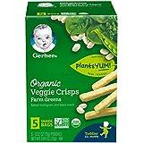 Gerber Graduates Organic Veggie Crisps, Green, 5 Count (Pack of 2)
