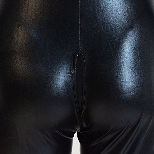 e9eee75c2f05 Wondermiracle Sexy Womens Faux Leather Jumpsuit Vinyl Wetlook Halloween Costume  Zipper Crotch Catwoman Clubwear Catsuit