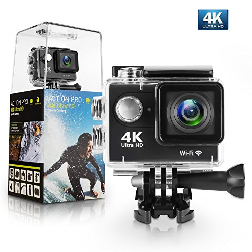 Action Camera, Amuoc 4K WiFi Ultra HD Waterproof DV Camcorder 12MP 170 Degree Wide Angle, Including Waterproof Case and Full Accessories Kits