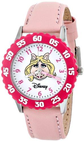 Disney Kids' W000161 Muppets 'Miss Piggy' Stainless Steel Time Teacher Watch (Miss Piggy Watch)
