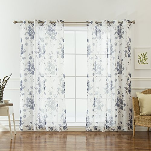 Best Home Fashion Faux Linen Watercolor Rose Print Sheers Curtains - Stainless Steel Nickel Grommet Top - Navy - 52