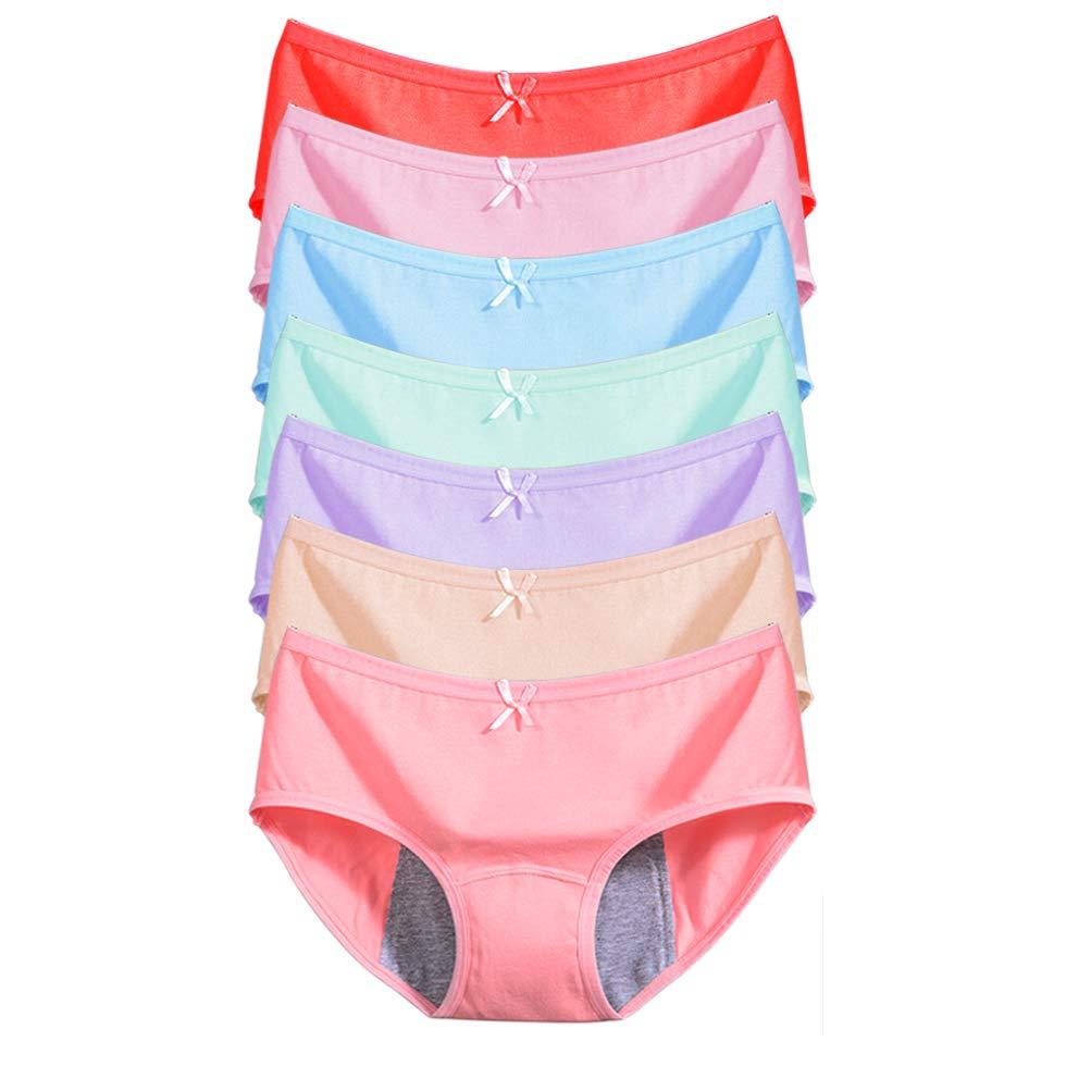 EIGGAM Underwear for Girls, Cotton Menstrual Physiological Period Underwear Absorbent Leakproof Postpartum Panties,Comfort Briefs Underwear 7 Pack (X-Large)