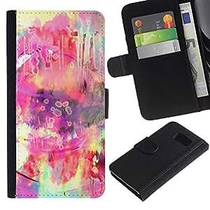 KingStore / Leather Etui en cuir / Samsung Galaxy S6 / Hippie colorido Rosa Amarillo