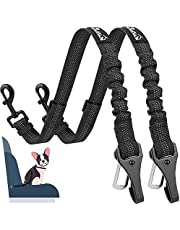 AUTOWT Dog Seat Belt, 2 in 1 Latch Bar Attachment Dog Car Seatbelt Metal Buckle Elastic Bungee Buffer Reflective Nylon Belt Tether Connect to Dog Harness for Pet Safety in Vehicle Travel Daily Use 2 Pack
