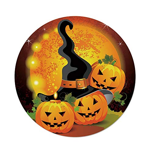 iPrint Polyester Round Tablecloth,Halloween,Witches Hat Spooky Pumpkins Magical Night Autumn Nature Full Moon,Light Orange Green Black,Dining Room Kitchen Picnic Table Cloth Cover,for Outdoor -