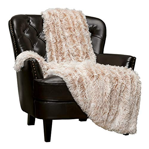 Chanasya Shaggy Longfur Faux Fur Throw Blanket - Fuzzy Lightweight Plush Sherpa Fleece Microfiber Blanket - for Couch Bed Chair Photo Props (50x65 Inches) Beige Mocha (Throw Faux Chair Fur)