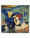 Dahlia Women's 100% Square Silk Scarf - Pierre-Auguste Renoir Painting - Blue