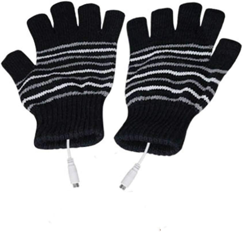 Kbinter USB 2.0 Powered Stripes Heating Pattern Knitting Wool Cute Heated Paw Gloves Fingerless Hands Warmer Mittens Laptop Computer Warm Gloves for Women Men Girls Boys (Black)