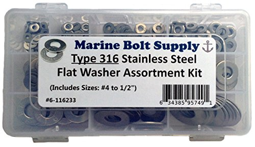 - Type 316 Stainless Steel Flat Washer Assortment Kit Marine Bolt Supply 6-116233
