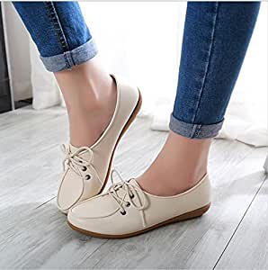Amazon.com  Women Leather Flats Shoes Femme Chaussure ...