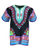 KlubKool Dashiki Shirt Tribal African Caftan Boho Unisex Top Shirt (Black/Light Green/Blue,Small)